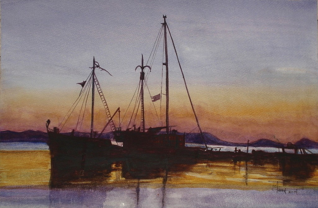 The Boats in the Port- Watercolor Painting- Marialena Sarris Artist- 8-2014