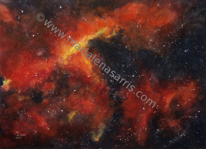 Red Starry Sky- Watercolor Painting- Artist Marialena Sarris-© 10-1- 2015