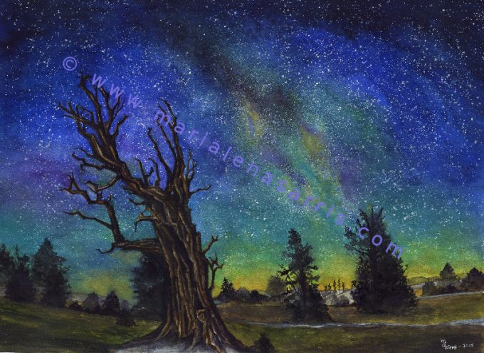The Greenman in Winter - Watercolour NIght Sky Painting-Artist Marialena Sarris- © 22-2-2015