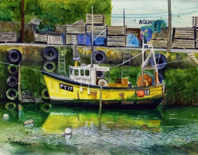 Megavissey Boat-Watercolour Painting-Artist Marialena Sarris - © 25-7-2015