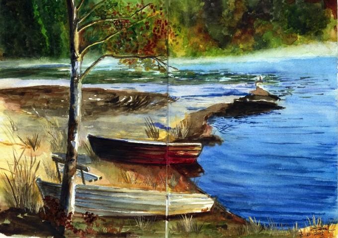 The Lake- Watercolour Sketch- Artist Marialena Sarris - © 10-2015