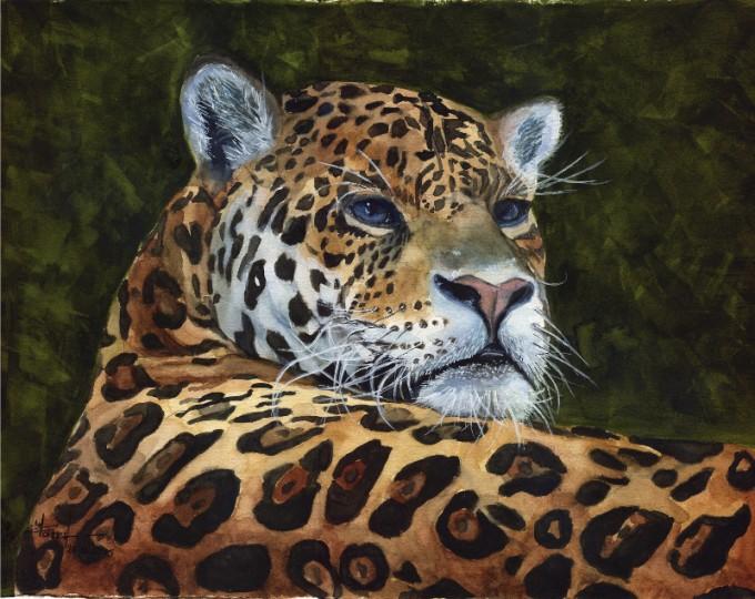 Jaguar- Watercolour Painting- Artist Marialena Sarris- © 27-11-2015