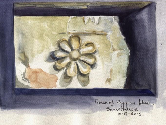 Frieze of Propylon Samothrace Exhibition- Watercolour Sketch- Artist Marialena Sarris- © 12- 2015