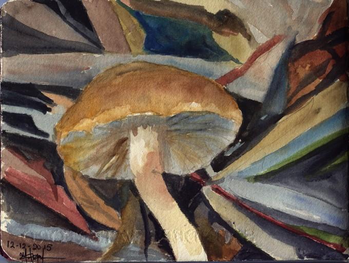 Pcychedelic mushroom- Watercolour Sketch- Artist Marialena Sarris- ©12-2015
