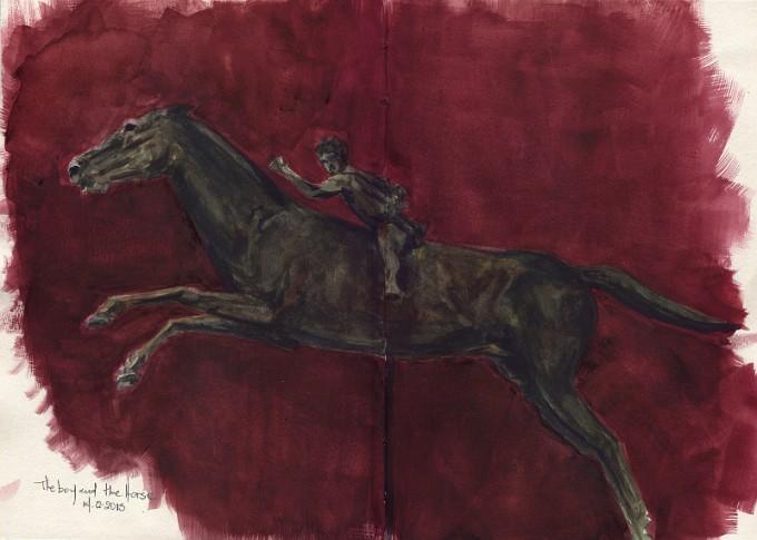 The Boy on the Horse- Bronze Statue- Watercolour Sketch- Artist Marialena Sarris- © 14-12-2015