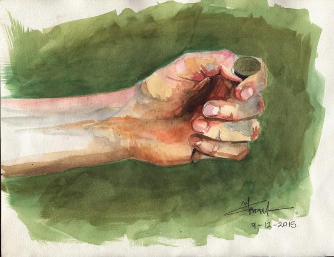 Turn the coin- Watercolour Sketch- Artist Marialena Sarris- © 12-2015