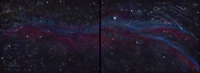 The Veil Nebula- Watercolour Painting in two parts- Artist Marialena Sarris- © 14-1-2016