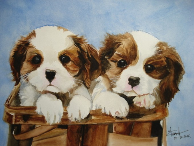 Nicholas Puppies- Watercolour Painting- Artist Marialena Sarris- 30-3-2016