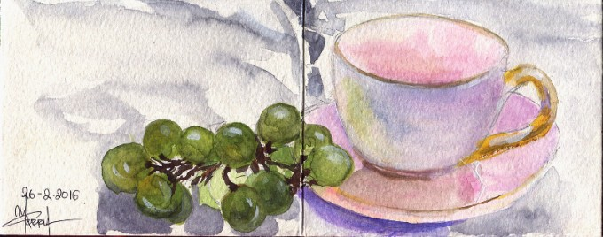 Pink cup of tea and grapes- Watercolour Sketch- Artist Marialena Sarris- © 2-2016