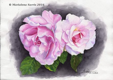 Two Roses- Watercolour Flowers Painting- Artist Marialena Sarris- © 19-5-2016