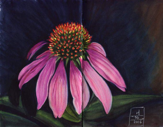 Flower Sketch- Watercolour Sketch- Artist Marialena Sarris- © 24-6-2016