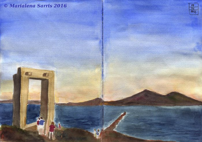 Naxos Portara- Watercolour Sketch- Kuretake Tambi Gansai Review- Artist Marialena Sarris- © 6-2016