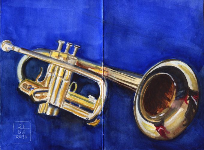 Trompet - Watercolour Sketch0 Artist Marialena Sarris-© 6-2016