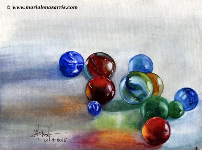 marbles-watercolour-study-artist-marialena-sarris-13-9-2016