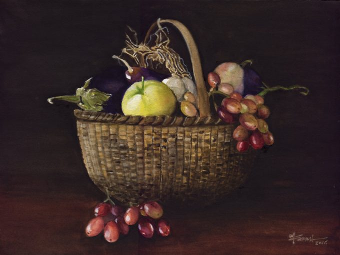 Basket with Groceries- Watercolour Still Life- Artist Marialena Sarris- © 12-12-2016
