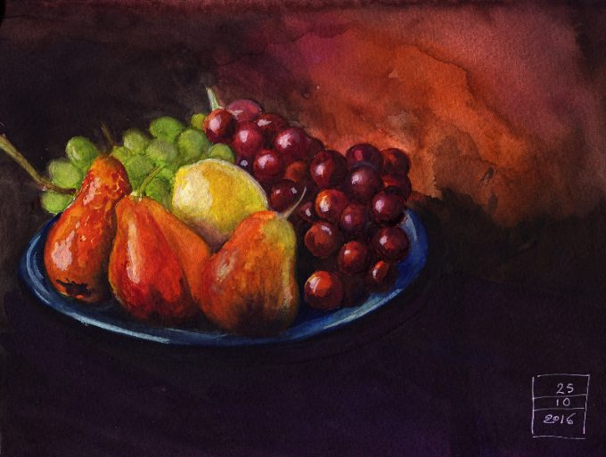 Plate with Fruits- Watercolour still life sketch- Artist Marialena Sarris- © 25-10-2016