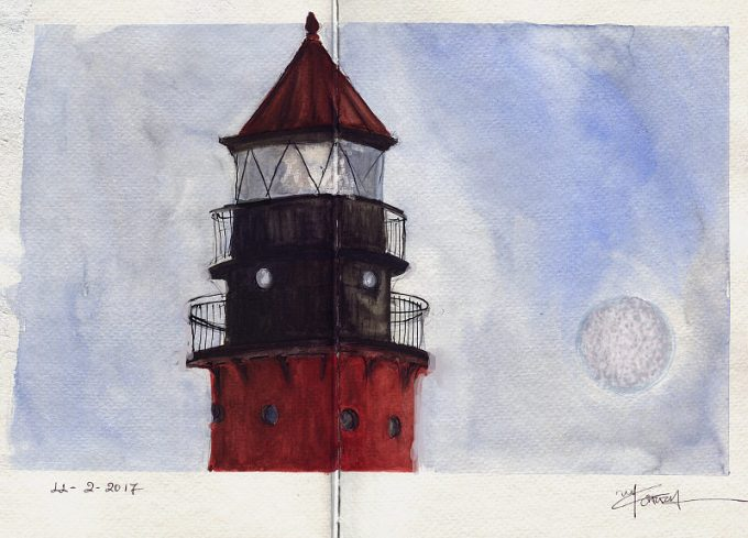 Lighthouse and the moon - Watercolour Sketch- Artist Marialena Sarris-© 11-2-2017