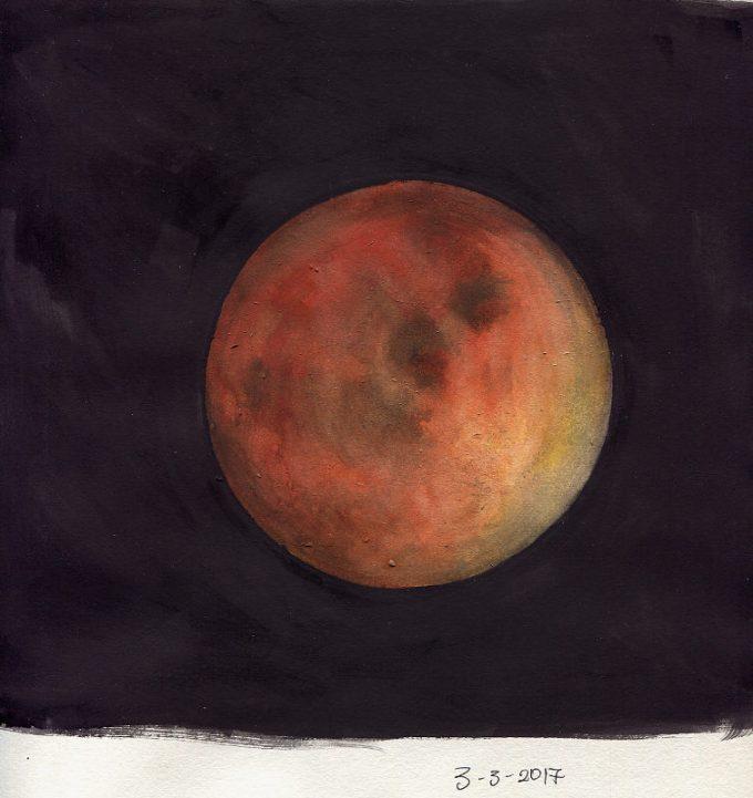 Mars- Watercolour Planet Sketch- Artist Marialena Sarris- © 3-3-2017