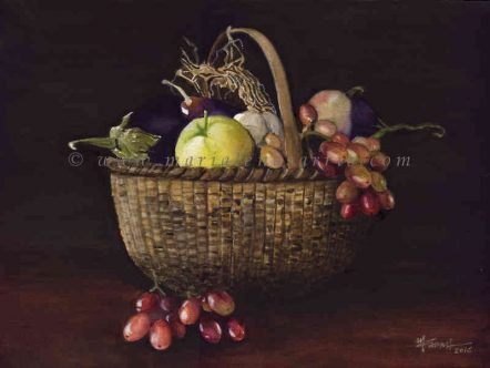 A basket with groceries- Watercolour Still Life Painting- Artist Marialena Sarris-2016-SOLD