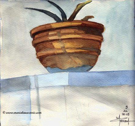 A pot- Watercolour Sketch- Artist Marialena Sarris- © 11-2015