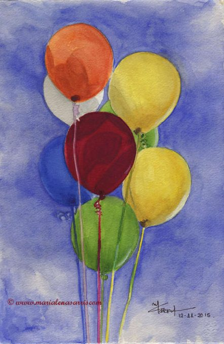Ballons- Watercolour Painting- Artist Marialena Sarris- © 11-2015