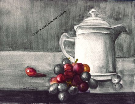 Coffee Pot and Grapes Version 3- Watercolours and Watercolour Graphite Sketch- Artist Marialena Sarris - 3-11-2017