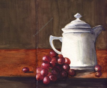 Coffee Pot with Grapes- Watercolour Sketch- Artist Marialena Sarris- 2-11-2017