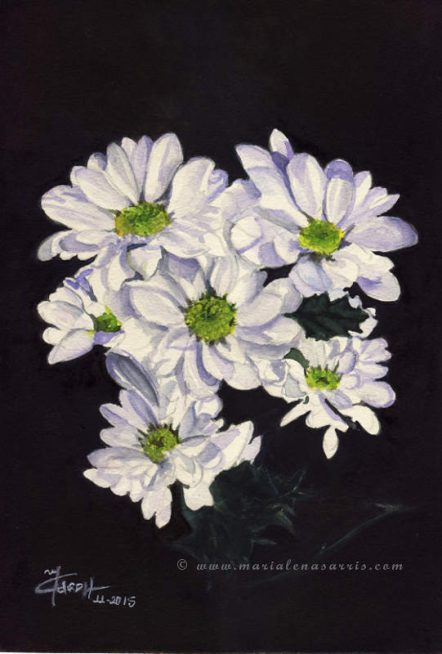 Daisies- Watercolour Painting- © Artist Marialena Sarris-11-2015- SOLD