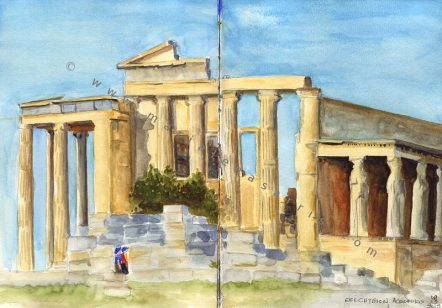 Erechtheion Temple- On spot watercolor sketch- Marialena Sarris Artist- 5-2015