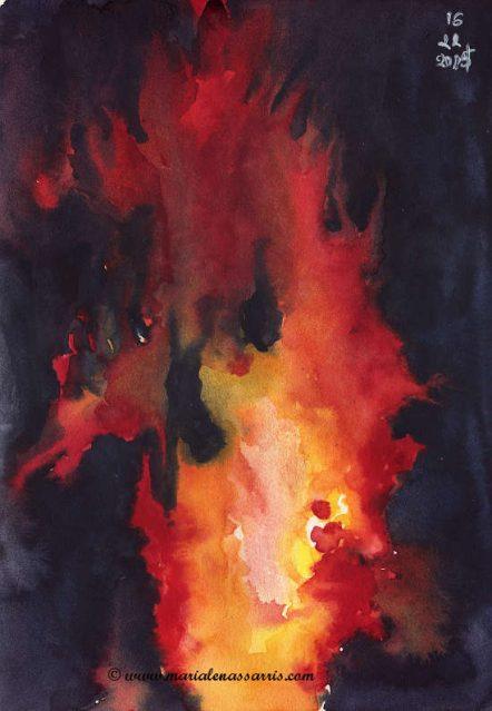 Fire- Watercolour Sketch- Artist Marialena Sarris- © 11-2015