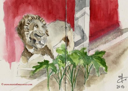 Garden Lion sketch National Archaeological Museum- Marialena Sarris- 2015