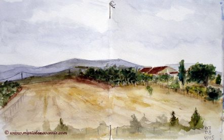 Home view 3- Watercolor Sketch- Artist Marialena Sarris - © August 2015