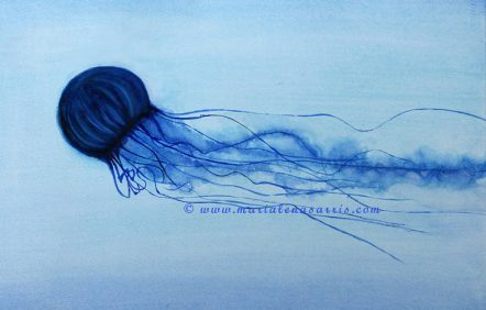 Jelly Fish- Jelly Fish Watercolour Painting- Artits Marialena Sarris - © 2014