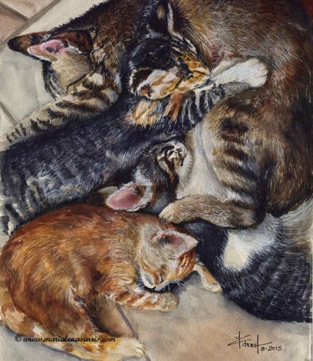 Kittens- Watercolour Painting- Artist Marialena Sarris- © August 2015