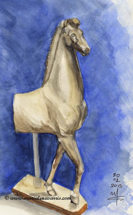 Little horse- Watercolor sketch at Acropolis Museum- Marialena Sarris 2015