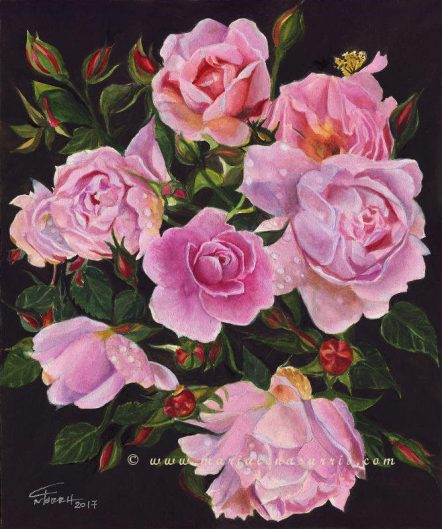 More Roses for my Vases- Watercolour Floral Painting- © Artist Marialena Sarris 27-1-2017