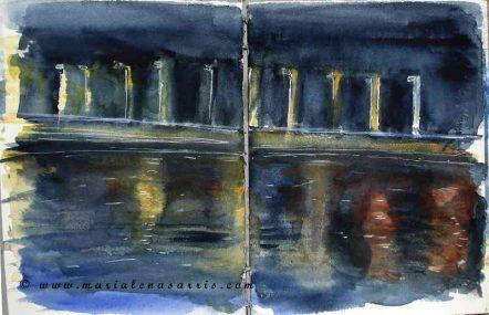 Sketching in the dark at Makri Bay - Watercolor Sketch -©Marialena Sarris 2015