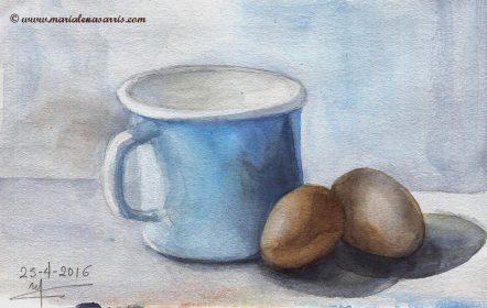 Still Life with Eggs Study- Watercolour Sketch- Artist Marialena Sarris - © 24-4-2016