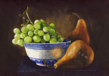 Still life study with grapes and pears- Still Life Watercolour Painting- Artist Marialena Sarris- © 6-2017/SOLD