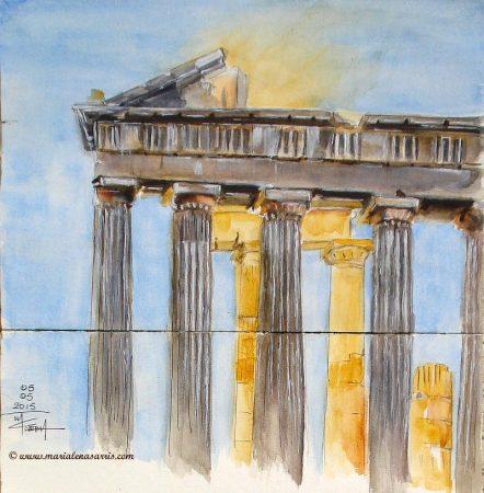 Sun-behind-Acropolis-Watercolor-Sketch-Marialena-Sarris-Artist-2015