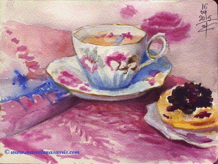 Tea Cup- Watercolor Tea Cup Sketch- Artist Marialena Sarris- © 9-2015