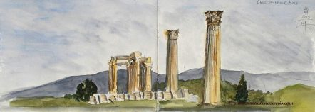 Temple of Zeus 1- Watercolor Sketch- Marialena Sarris Artist-2015