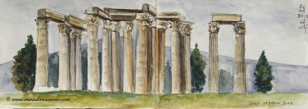 Temple of Zeus 2- Watercolor Sketch- Marialena Sarris Artist- 4- 2015