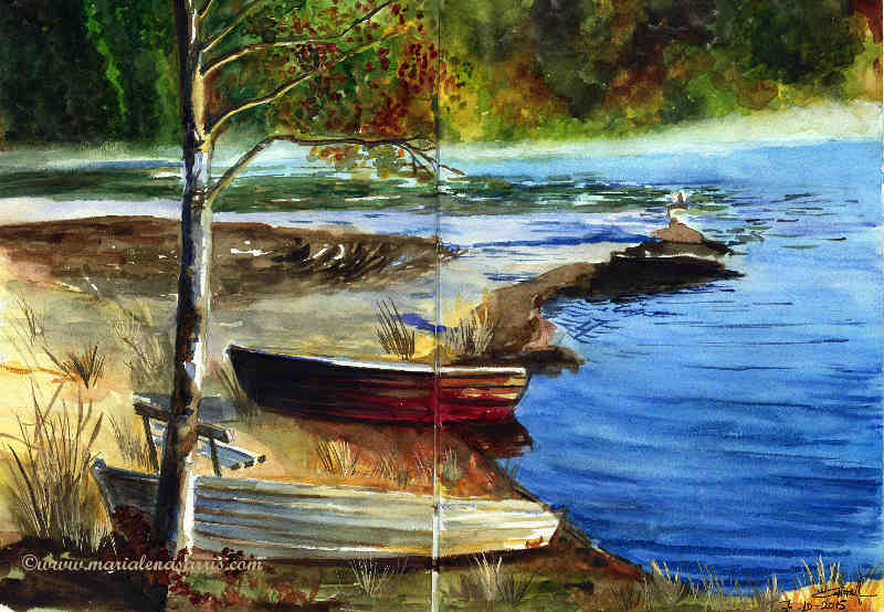 The Lake- Watercolour Sketch- © 10-2015