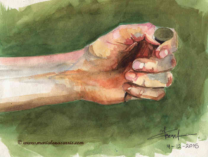 Flipping the Coin- Watercolour Sketch- © Artist Marialena Sarris- © 12-2015