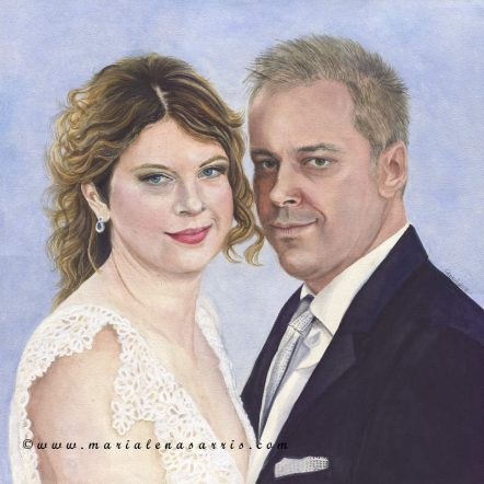 Wedding Portrait-Watercolour Wedding Portrait- Artist Marialena Sarris- © 30-7-2017