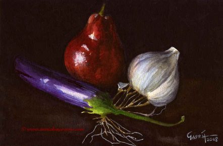 Still Life with Pear and Garlic- Watercolour Still Life Painting-© Artist Marialena Sarris/SOLD