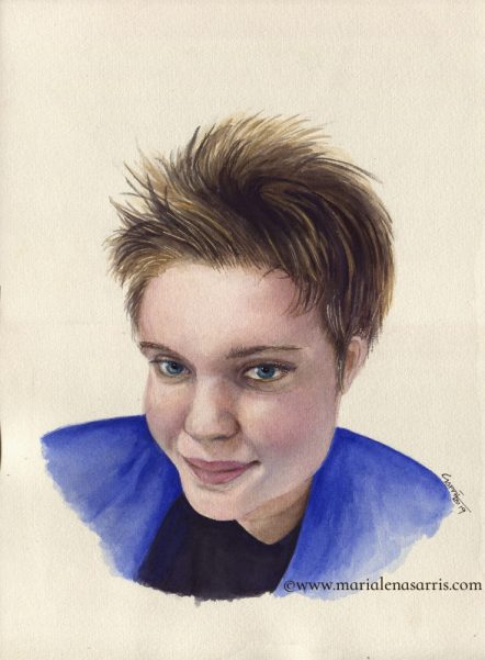 Samantha- Watercolour Portrait Commission- © Artist Marialena Sarris