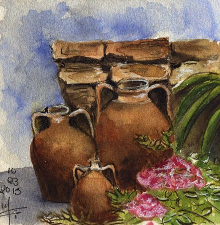 The pots- Watercolor Sketch- Marialena Sarris- .2015