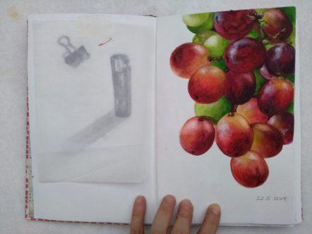 Grapes- Watercolour Grapes Sketch- © Artist Marialena Sarris 2019